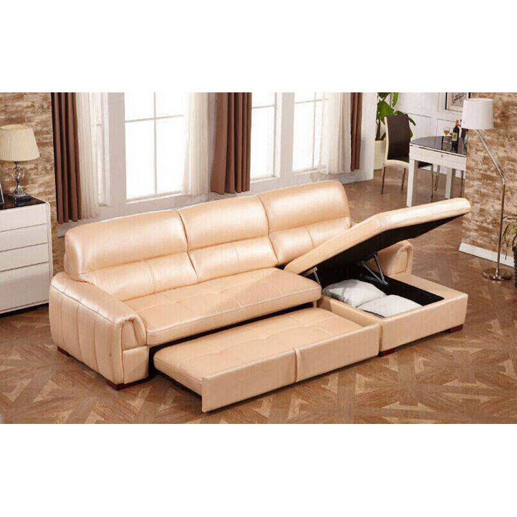 Multi-functional L shape sofa with sofa bed and storage box