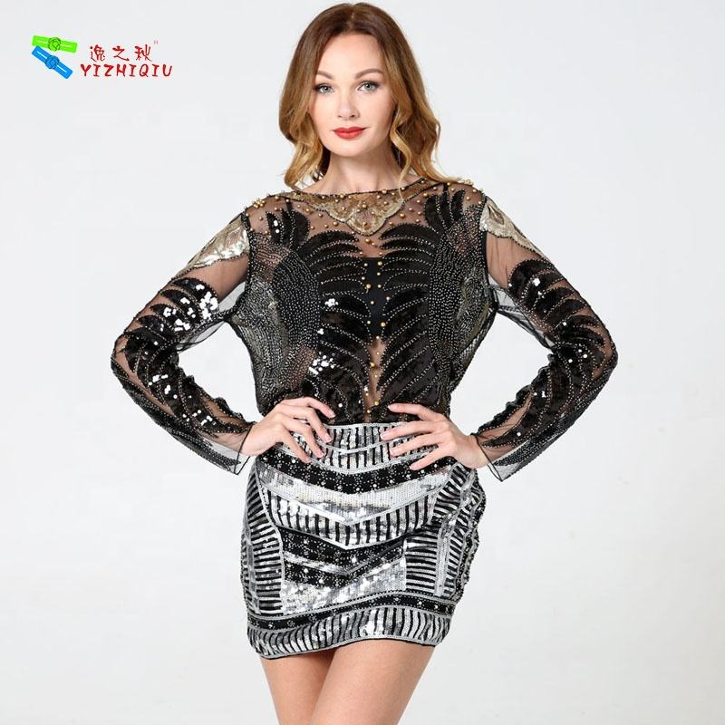 YIZHIQIU women clothing wholesale sequined black patch work blouse designs sheer blouse