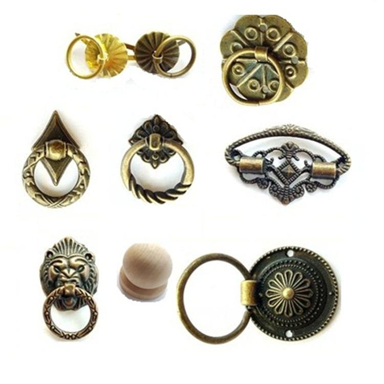 Small Wholesale Antique Wooden Metal Little Tin Drawer Casket Jewellery Box Case Door Knob Furniture Handles