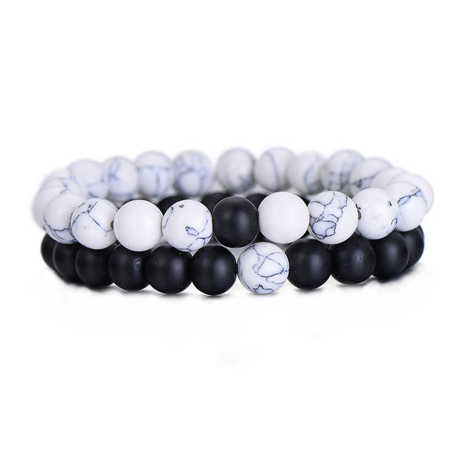 2Pcs/Set Couples Distance Bracelet Classic Natural Stone White and Black Beaded Bracelets for Men Women HZS-0091