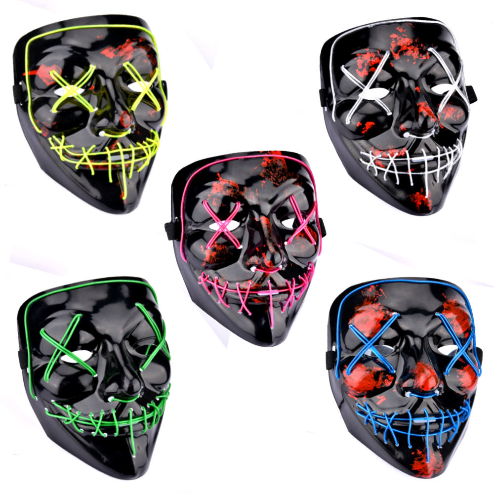 Halloween Neon Maske Licht Up Purge Maske Lustige Kostüm Wahl Party Masken Glow In Dark Scary Movie Cosplay Liefern