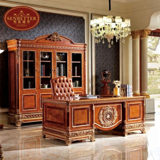 0062 European Style Luxury wooden Executive Office Desk/ Classic Wood Carving Writing Table/ Home Office Furniture
