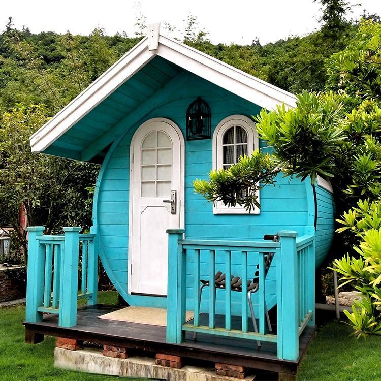 Multicolor Europea estilo de forma de barril pequeño casas prefabricadas, cúpula de madera <span class=keywords><strong>casa</strong></span> móvil