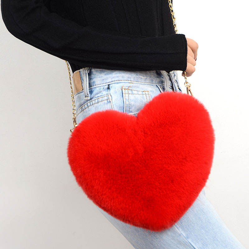 Very popular high-quality imitation fur heart handbag