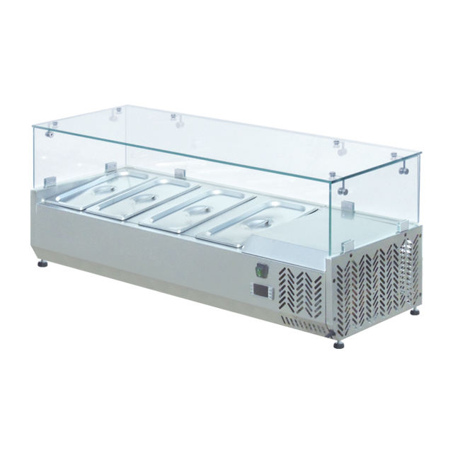 Stainless Steel Fruit Salad Bar / Salad Chiller With 4 Container / Salad Glass Counter Display