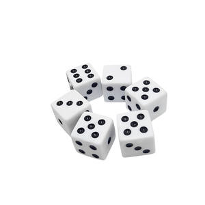 16mm D6 white square dice with black dots custom acrylic polyhedral casino game dice