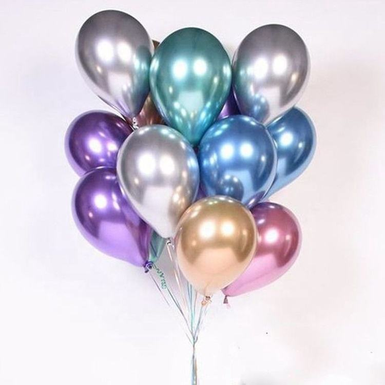 Groothandel 12 Inch Verjaardag Bruiloft Globos Decoraties Shiny Chrome Metallic Latex Party Ballonnen