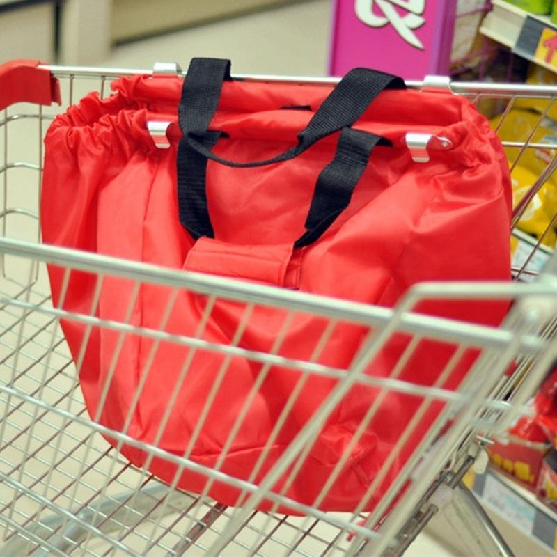 Eco Friendly Grocery Cart Bags Reusable Large Foldable Grocery Supermarket Grab Tote Shopping Cart Bags with Cart Clip