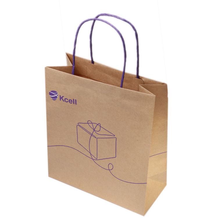 personalizado logotipo do nome de loop offset baratos impressos recicláveis sacos de papel kraft para fazer compras
