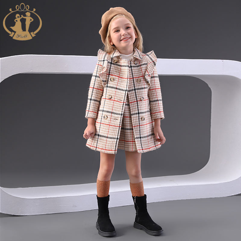Nimble Girls' Outwear Girls' Long Sleeve Plaid Frock Coat Kids' School Uniform for Autumn/Winter Clothes Kids
