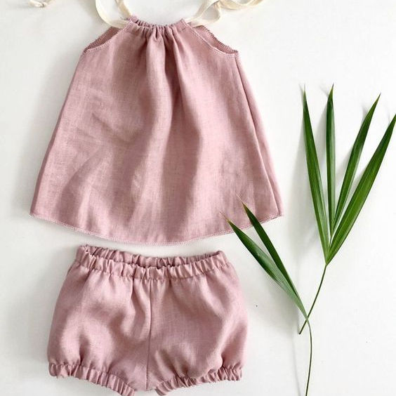 New fashion kids girls clothes linen comfortable children wear clothing set summer boutique outfits
