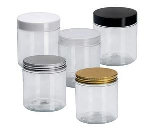 food container 50ml 60ml 80ml 100ml 120ml 140ml 150ml 180ml 200ml 250ml 500ml clear PET plastic candy jar with aluminum cap