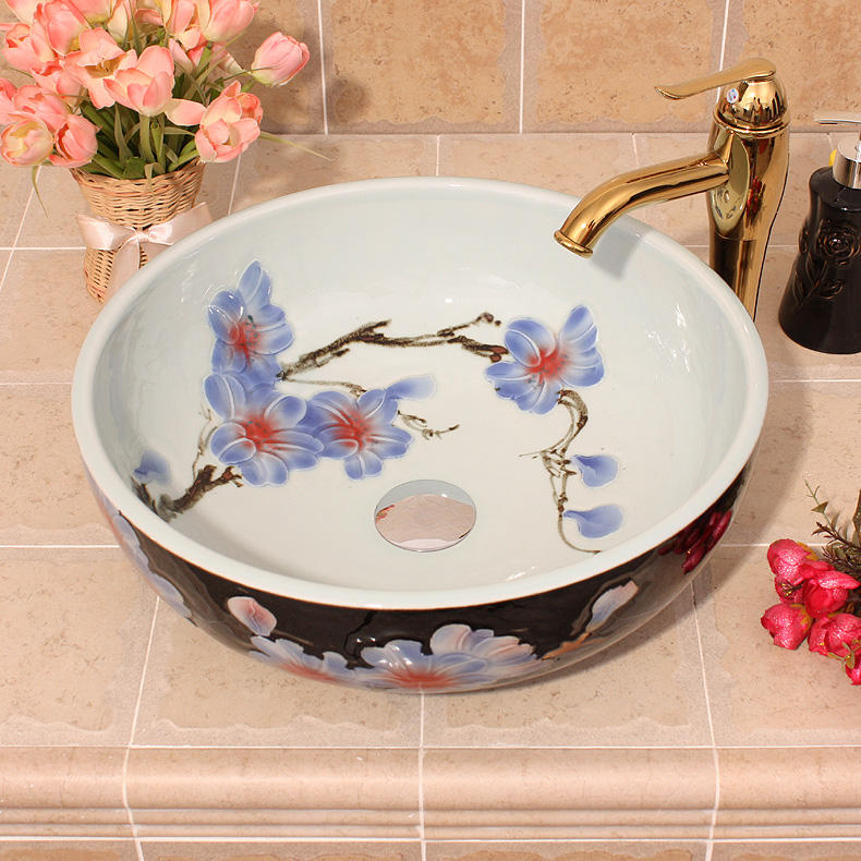Ceramic counter top bathroom sinks wash basin lavabo sink round Bathroom sink sanitary art basin