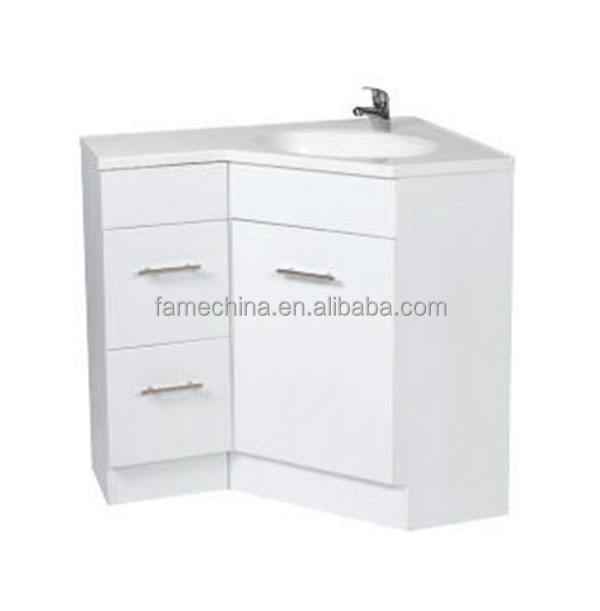 MDF Cabinet Single Ceramic Basin Corner Bathroom Vanity