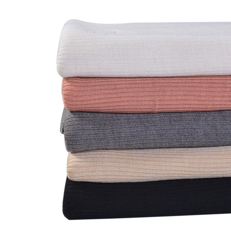 Knitted warm thicken rib viscose wool acrylic blend fabric for winter pullovers