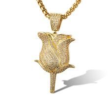 High Quality New Design Hip Hop Iced Out Customize Rose Pendant Gold 18K Hip Hop Jewelry