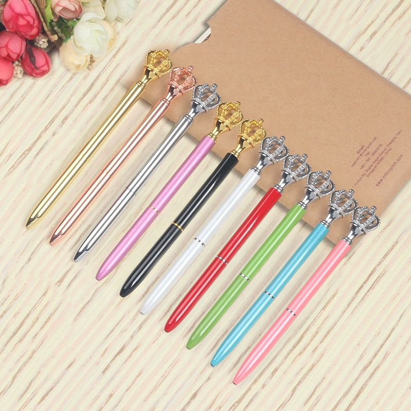 2019 News arrived customized luxury crown pen for promotional gift crown ball pen metal crown canetas