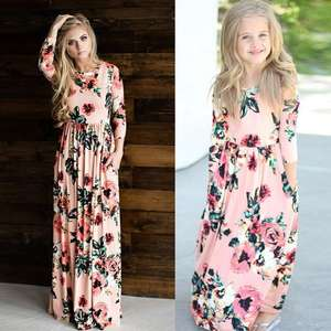 2019 Newest hot sale family matching clothes long sleeve floral long maxi dress mother daughter matching