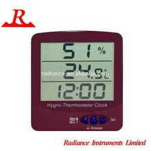 CE compliant Wall Mount Big LCD Display Hygro-Thermometer Clock
