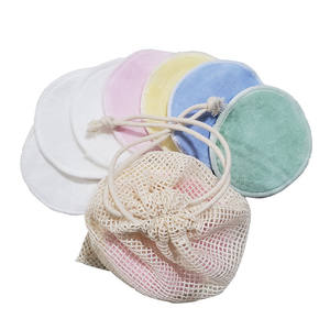 Reusable bamboo cotton make up remover pad washable With Laundry Bag