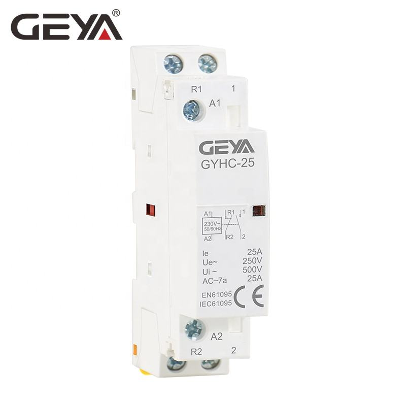 GEYA GYHC Din Rail AC Contactor 2P 25A 2NO or 2NC or 1NO1NC 220V Magnetic Contactors for Low Voltage Switchgear