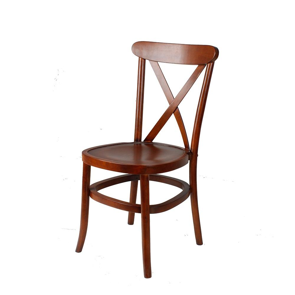 Hot selling Chinese supplier vintage cross back walnut wood finish restaurant chair