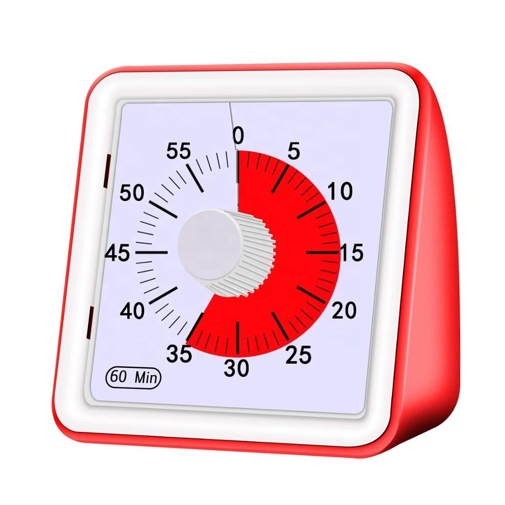 60 Minute square kitchen silent classroom meeting countdown alarm visual analog timer for kid