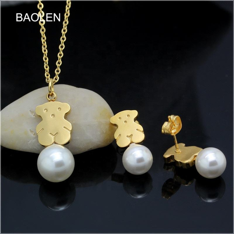 Hot Sale Classic Fashion Stainless Steel Gold jewelry Sets Best Freshwater Pearl Jewelry Sets unique gifts