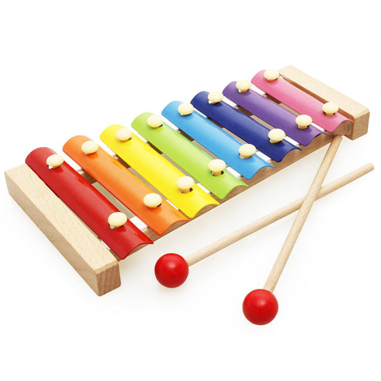 Wholesales wooden knocking a harp 8 sound piano music instrument set toys for the kids