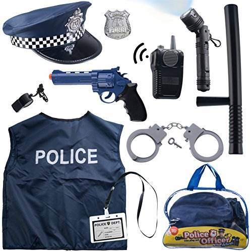 12pcs police costume for child,kids police role play set stock in carrying bag