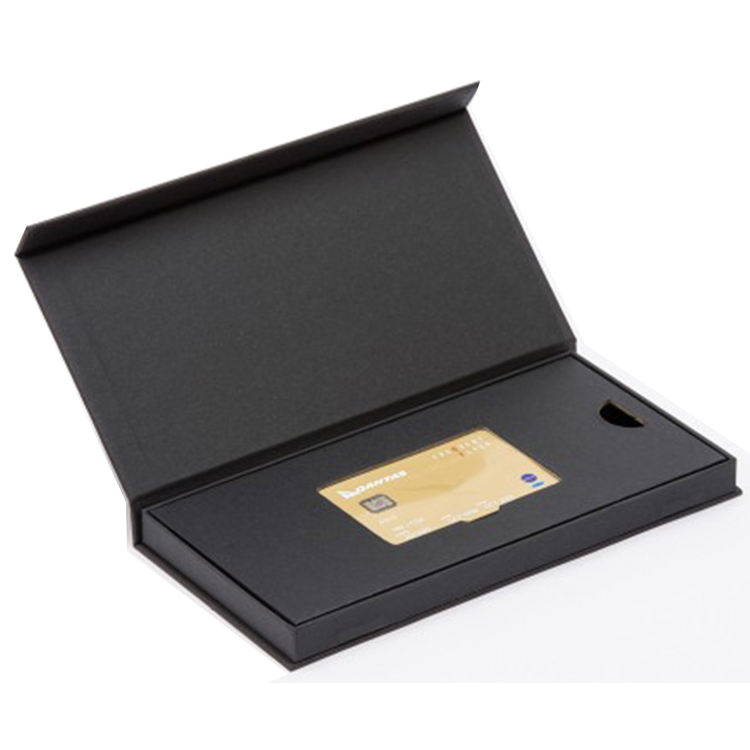 custom rigid book shape black cardboard packaging credit vip card gift box