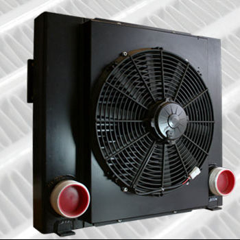 Custom OEM air to water recuperator heat exchanger with fan