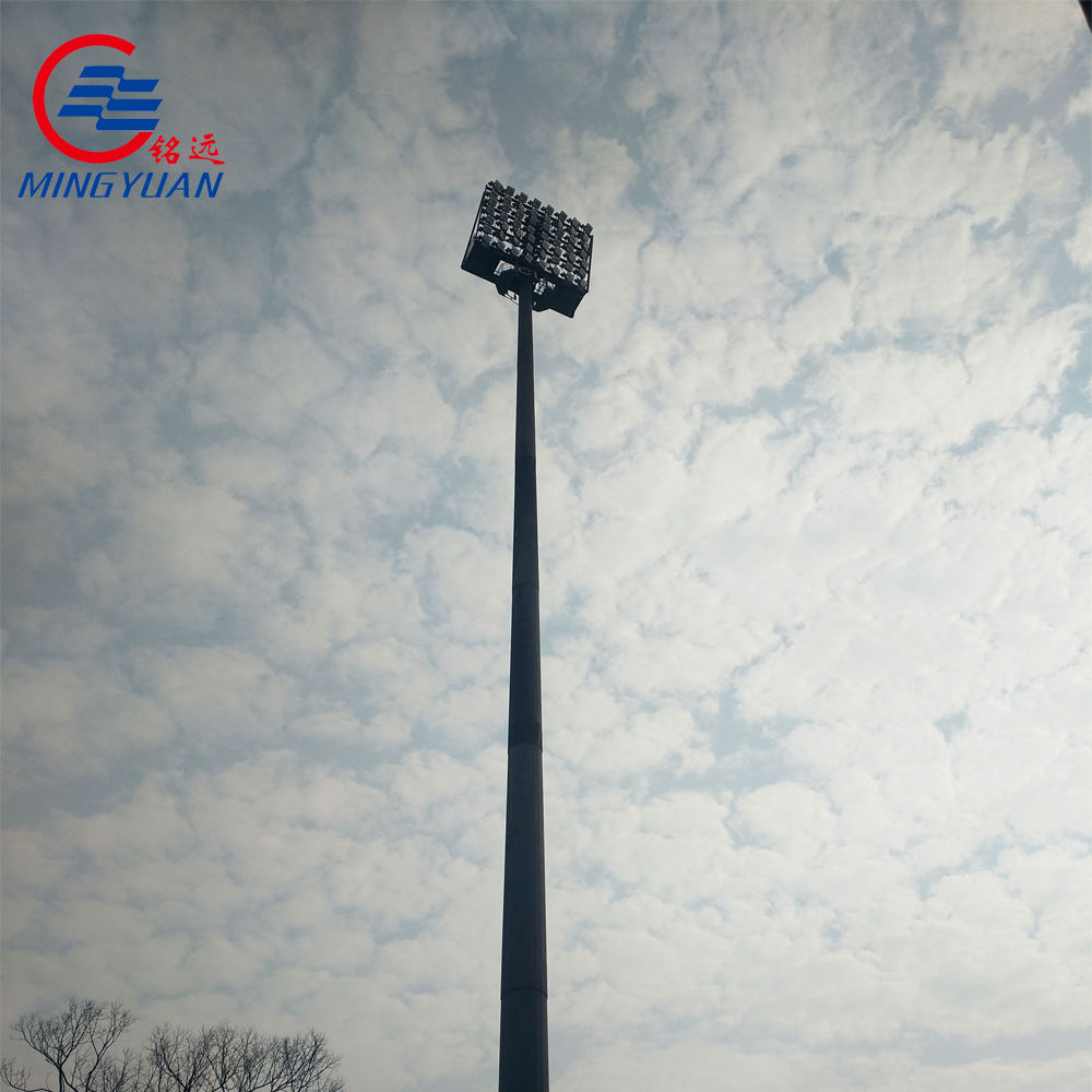 golf course hot dip galvanized high mast flood lighting poles in China 25m high mast lighting pole