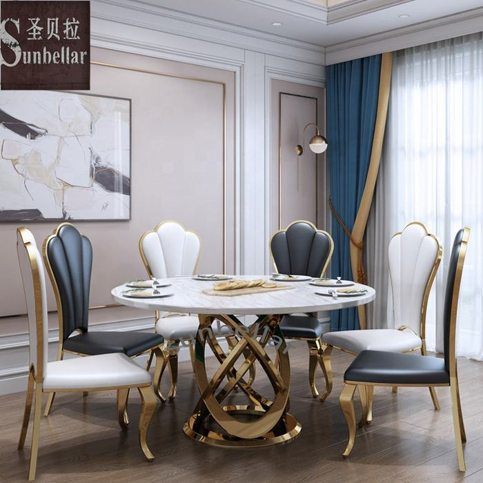Foshan furniture modern luxury dining table set marble top gold stainless steel metal frame with 6 chairs
