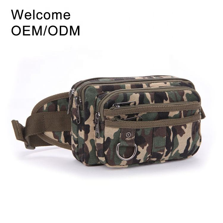 Wholesale climbing cross body custom printed sport running military hiking canvas belt tactical fanny pack waist bag for men