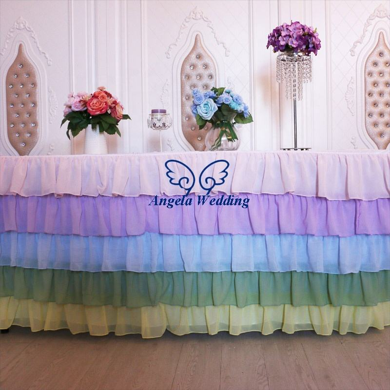 SK008A custom made Wedding five tiered pleated steps in pastel rainbow chiffon table skirt or table cloth