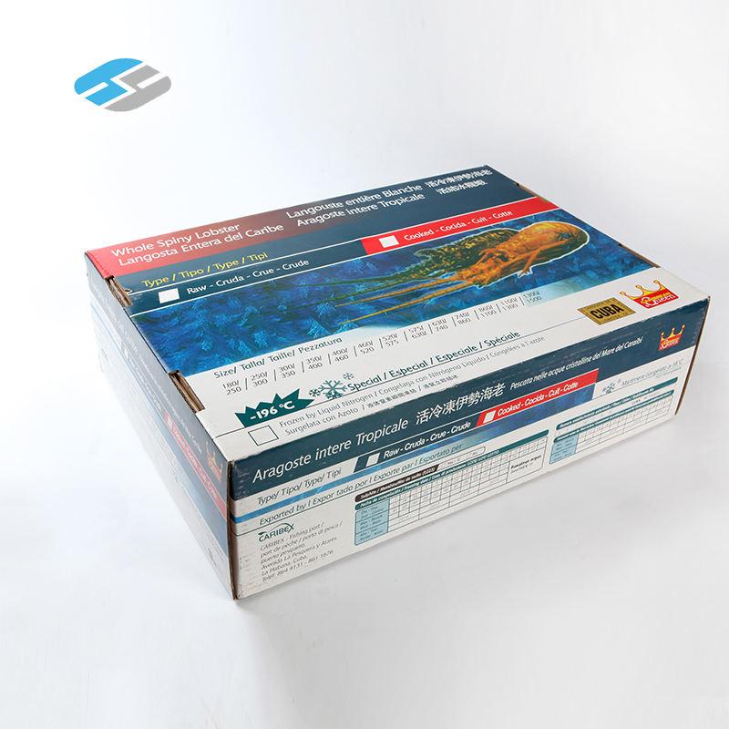 Заводская цена вторичной переработки пользовательские упаковка печать вощеный коробка для морепродуктов