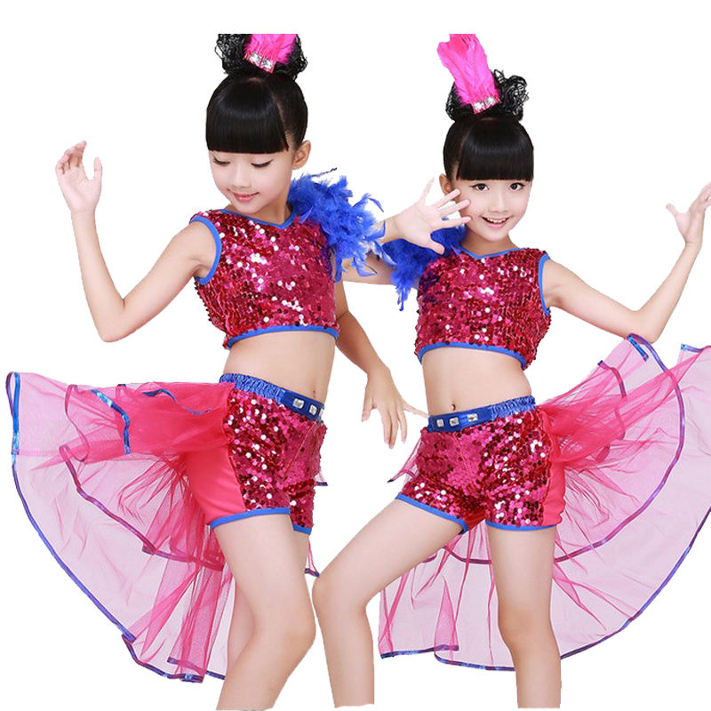 Girls Tailed Dress Jazz Dance Costumes Sequined Top and Pants
