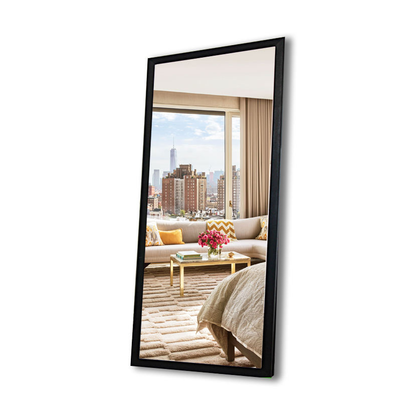 Custom black border large floor hanging mirror for clothing store