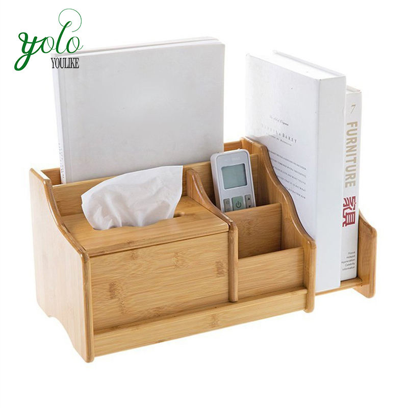 Natural Retractable 3 Compartments desktop Bamboo Storage Box Holders Rack, Book Organizer Display Shelf