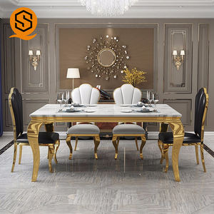 Own factory high gloss quartz aritificial stone dining table set modern