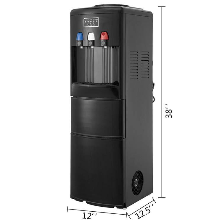 2 In 1 Water Dispenser Electric Hot Cold Water Cooler Dispenser w/ Built-in Ice Maker Black