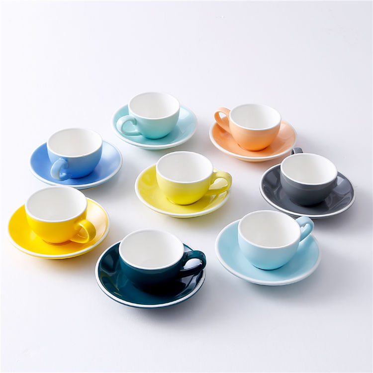 Cafe drinkware classic latte espresso coffee fine porcelain cup saucer set