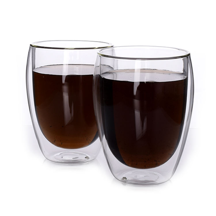 250ml hot selling Double wall glass cup without handle