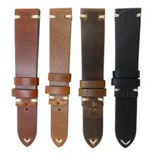 Custom 20mm 22mm 24mm 26mm Vintage Leather Watch Strap Genuine Leather Band for Men Watchband