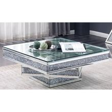 Luxury sparkling crushed diamond  square mirrored coffee table