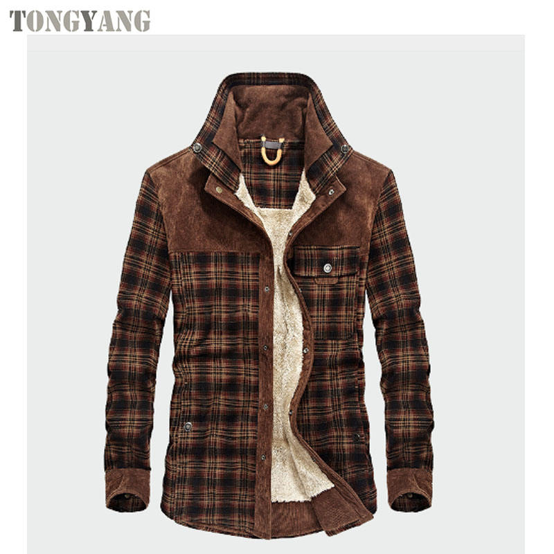 TONGYANG Militär Shirt Männer Casual Shirts Winter Wolle Fleece Dicke Warme Männliche Plaid Cord Shirts Camisa masculina Chemise