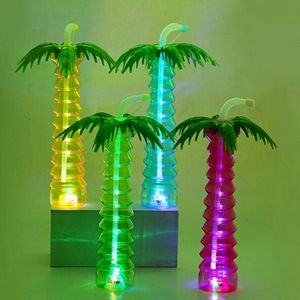 Factory direct disposable luminous palm tree cup led children's birthday party plastic led yard cup with straw
