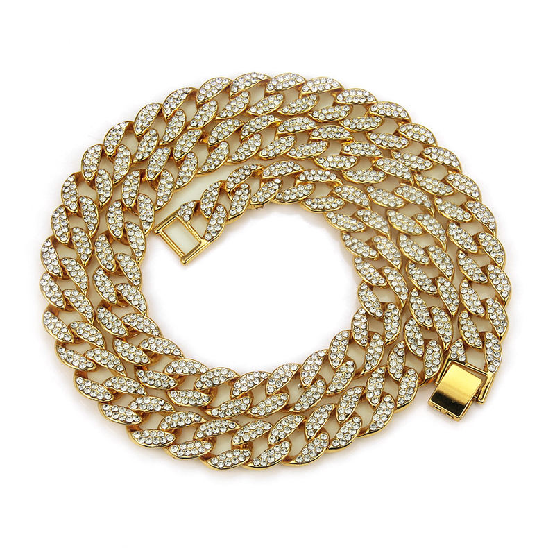 Rock Rap Hiphop Luxury Iced Out Full Crystal Cuban Link Chain Bracelet Necklace Silver Gold Men Diamond Cuban Link Chain