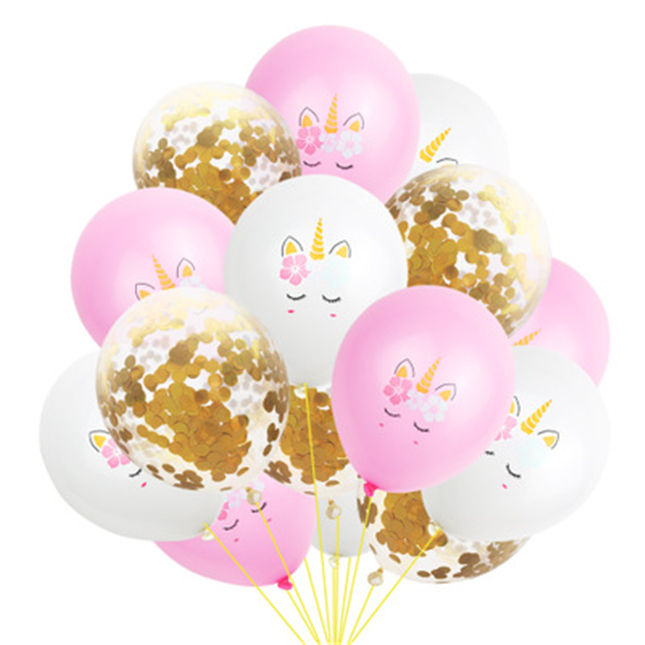 AliExpress Amazon Hot Sale New Unicorn Rose Gold Sequin Balloon Set Birthday Party Decoration